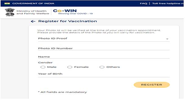 CoWIN Online Registration Process