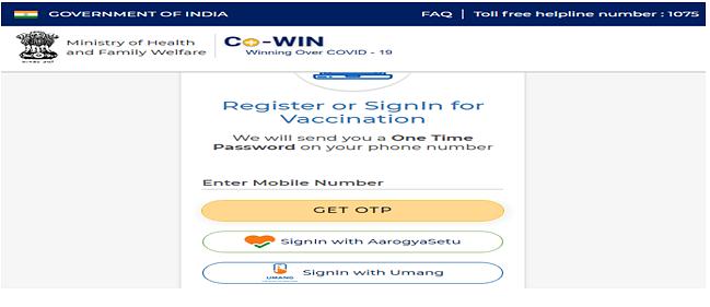 corona vaccine registration website