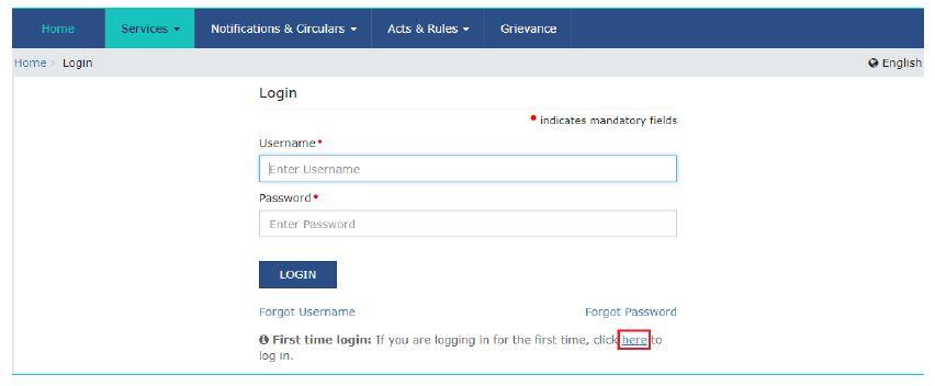 gst registration first time login